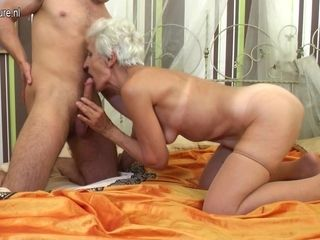 Hairy Granny Sucking And Fucking Her Toy Boy - MatureNL