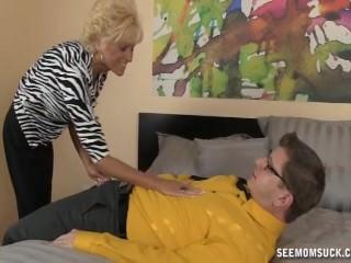 Ill-tempered granny blowjob