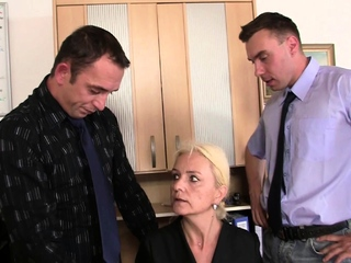 Old blonde granma sucks and rides for work