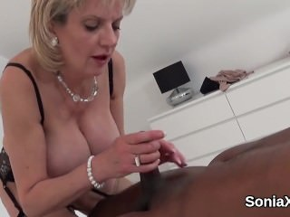Adulterous english mature lady sonia reveals her gigantic knockers