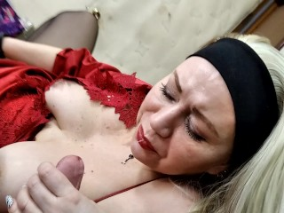 Luxurious mature busty blonde with a big dick in her cunt closeup shaking in orgasm!