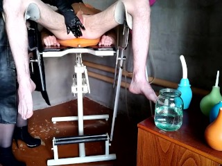Mistress washes slave's ass with two different enemas