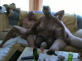 Wrinkled paunchy bodied pretty good housewife sucks several ancient cocks (FMM)