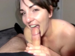 'Hot wife cuckolds husband, gives extended blow job, receives oral, orgasms over and over again!'