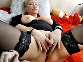 Clit and nipple clamps testing, close-up GILF creampie .!. Big cock in wet mature pussy!
