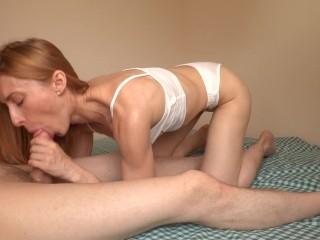 Fit redhead girl throatpie! Deepthroat blowjob and cum in throat