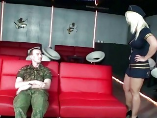 German Mature Seduces Young Boy Soldier to Fuck at Inspection