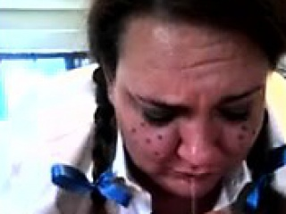 Nasty mature plumper with pigtails works her mouth on a bla