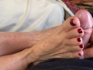 'Step Aunt Ann Wakes Me Up With Mature Moaning FootJob JOI'
