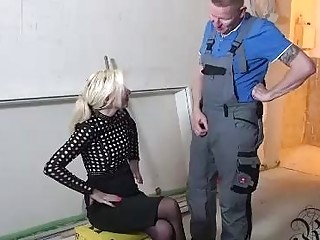 Nasty blonde with a perfectly shaved pussy got down and dirty with one of her neighbors
