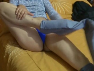 MY 58-YEAR-OLD HAIRY WIFE GETS EXCITED IN FRONT OF MY FRIEND, PULLS OUT HER JEAN TO MASTURBATE IN FR