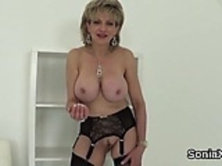 Unfaithful english mature lady sonia flashes her oversized t