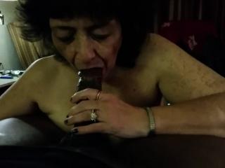 Cock - crazed grandma blowing a black shaft