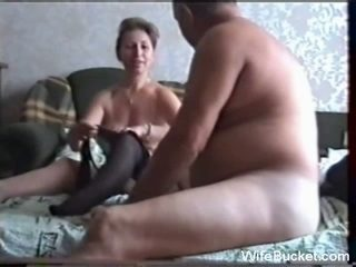Naughty milf wife still hesitates to fuck in front of cam