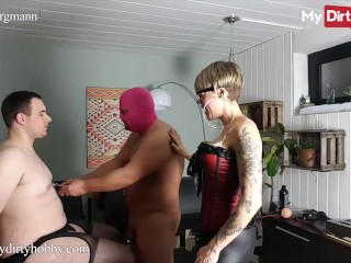 'MyDirtyHobby - Lara Bergmann Puts Nipple Clamps On Her Chubby Slave & Then The Master Jerks His Cock'