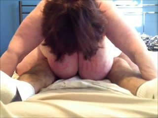 Wrinkled big breasted amateur brunette mature slut rides man's dick