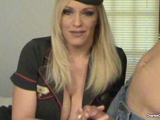 'Big Boobed Smoking Cougar Charlee Chase Smokes And Blows A Lucky Hard Cock!'