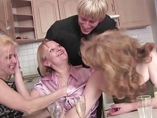 Four matures having an orgy