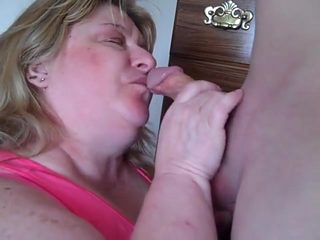 BBW Mature Linda's Blowjob Ball Sucking and Facial Action