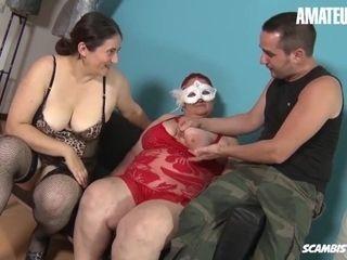 'ScambistiMaturi - Kinky Italian BBW Babes Hardcore Pussy Fuck With Lucky Guy - AMATEUREURO'