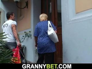 He helps flaxen-haired venerable grandma