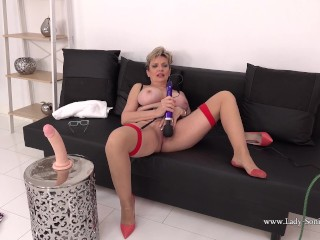 'Hot and busty blonde mature Lady Sonia gets off with her toy'
