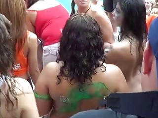 insane Pussy Flashing Contest with Key West Hoes