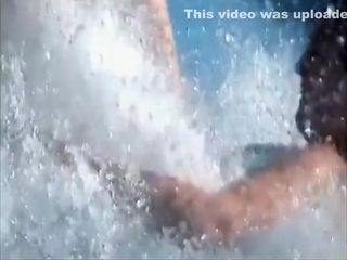 Big-busted girl's mamma pops abroad after a long time she was sliding alongside put emphasize waterslide