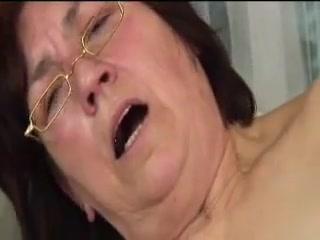 Fur covered grandma in glasses screwed