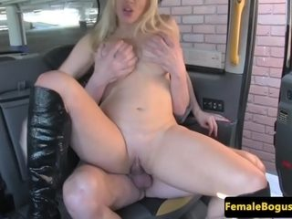 Bigtitted milf climaxes twice in back of cab