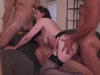 Ellison 61yrs Old Gilf Gangbanged By 3 Young Cocks In Dp And Arse