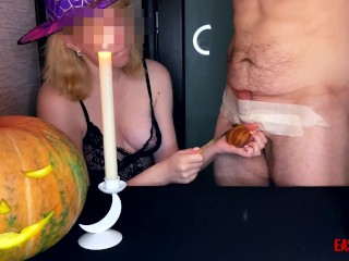 An experienced Halloween witch teaches drawing lessons and turns slave balls into a pumpkin
