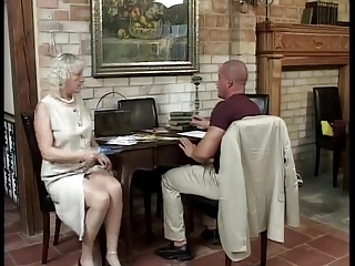 Blonde mature has fun away from the party