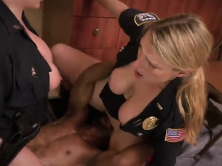 Two female cops shared black dick in interracial threesome