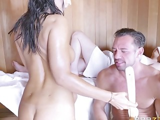 BRAZZERS Busty MILF Isis Love has anal sex with a stranger in the sauna