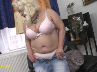 Busty Granny Fooling Around With Her Fat Pussy