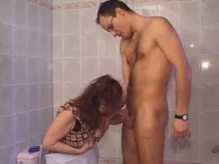 Hairy mature with younger cock in the bathroom