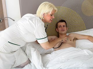 Mischievous mature nurse gives her youthful masculine patient a highly off the hook therapy