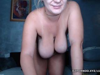 Busty blonde cam model nude dancing