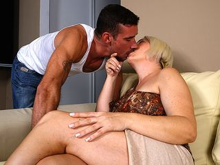 Crazy housewife plowing and inhaling