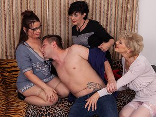 3 wondrous mature girls share the youthful cleaner's meaty trunk