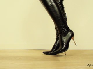 Thigh high boots high heels walk
