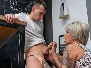 Wild Cougar takes her paramour's wood up the donk and in her snatch