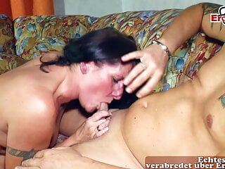 Mature German housewife with saggy tits does ugly mom porn