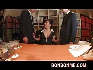 busty boss gives hardwork employee blowjob