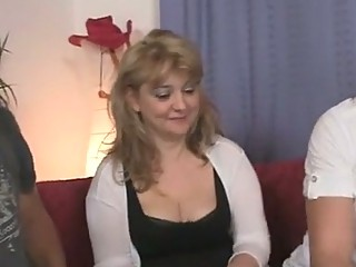 Old bitch takes two stiff cocks at once