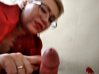 Mature Slut Goddess in red lingerie sucks cock and fucks leisurely... Hot footjob and many other!