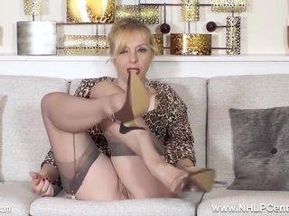 Lucy Gresty - Horny Blonde Milf Masturbating Hard In Stockings And Stilettos