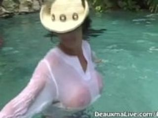 """Mature Milf Deauxma All Wet Outside Poolside & Nude Beach!"""
