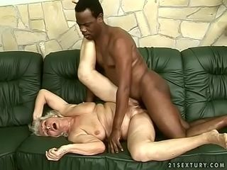 Interracial granny fellow-feeling a amour
